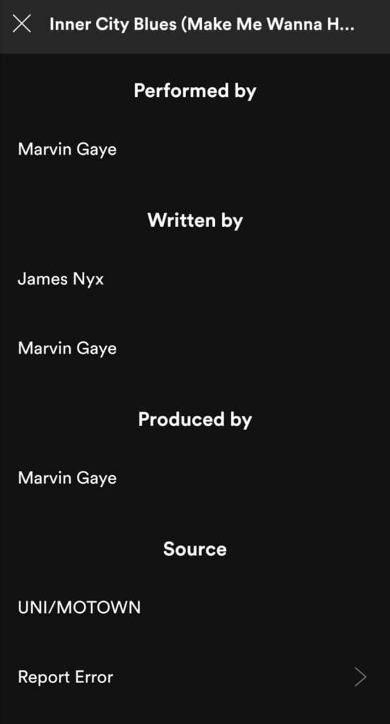 Spotify song credits