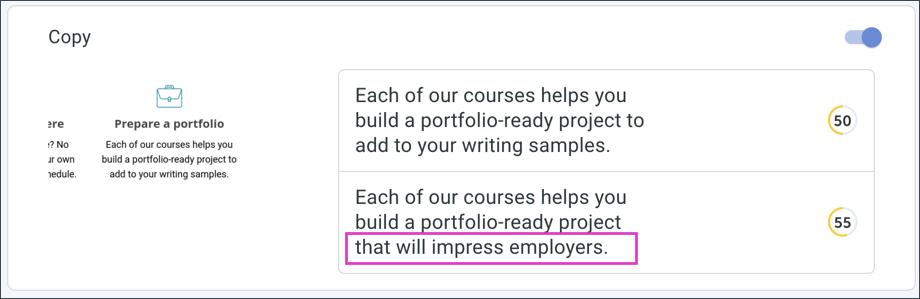 Example of AI tool Anyword recommending copy suggestions to show AI impact on UX writing